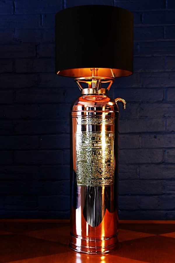 Upcycled recycled brass copper fire extinguisher table lamp light 54