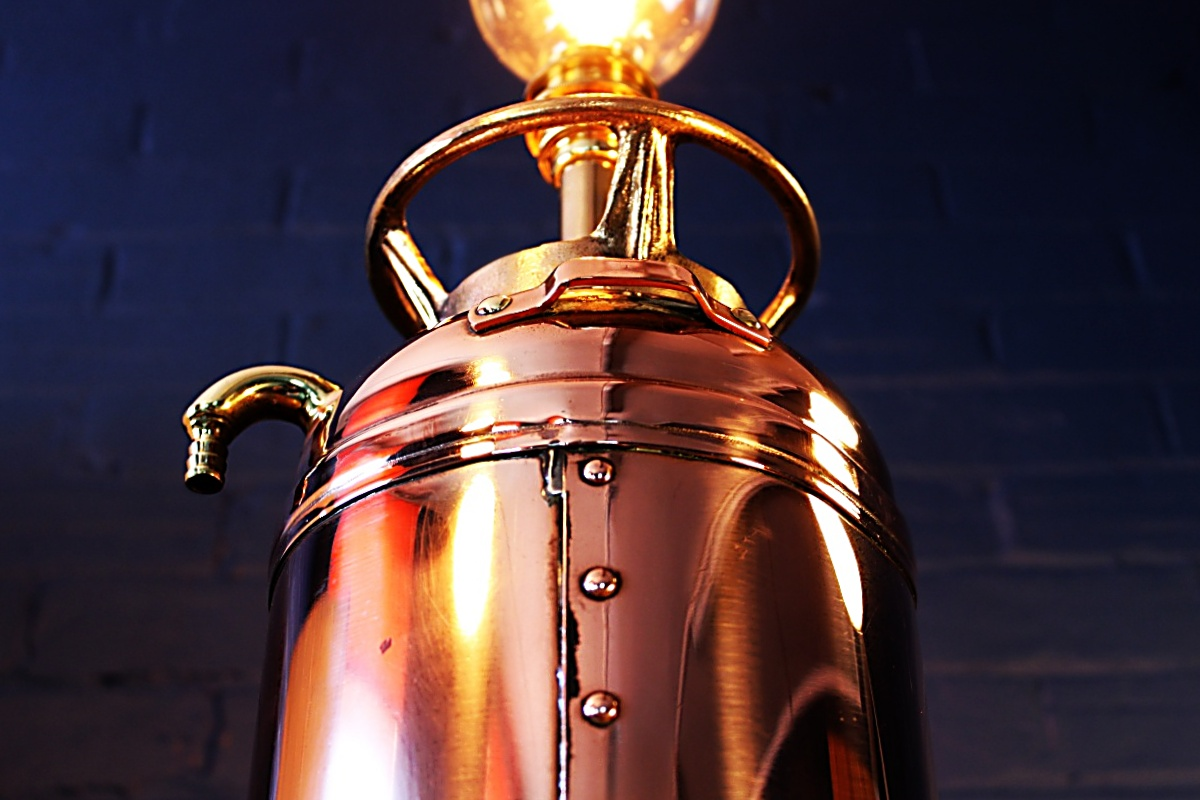 Upcycled recycled brass copper fire extinguisher table lamp light 63