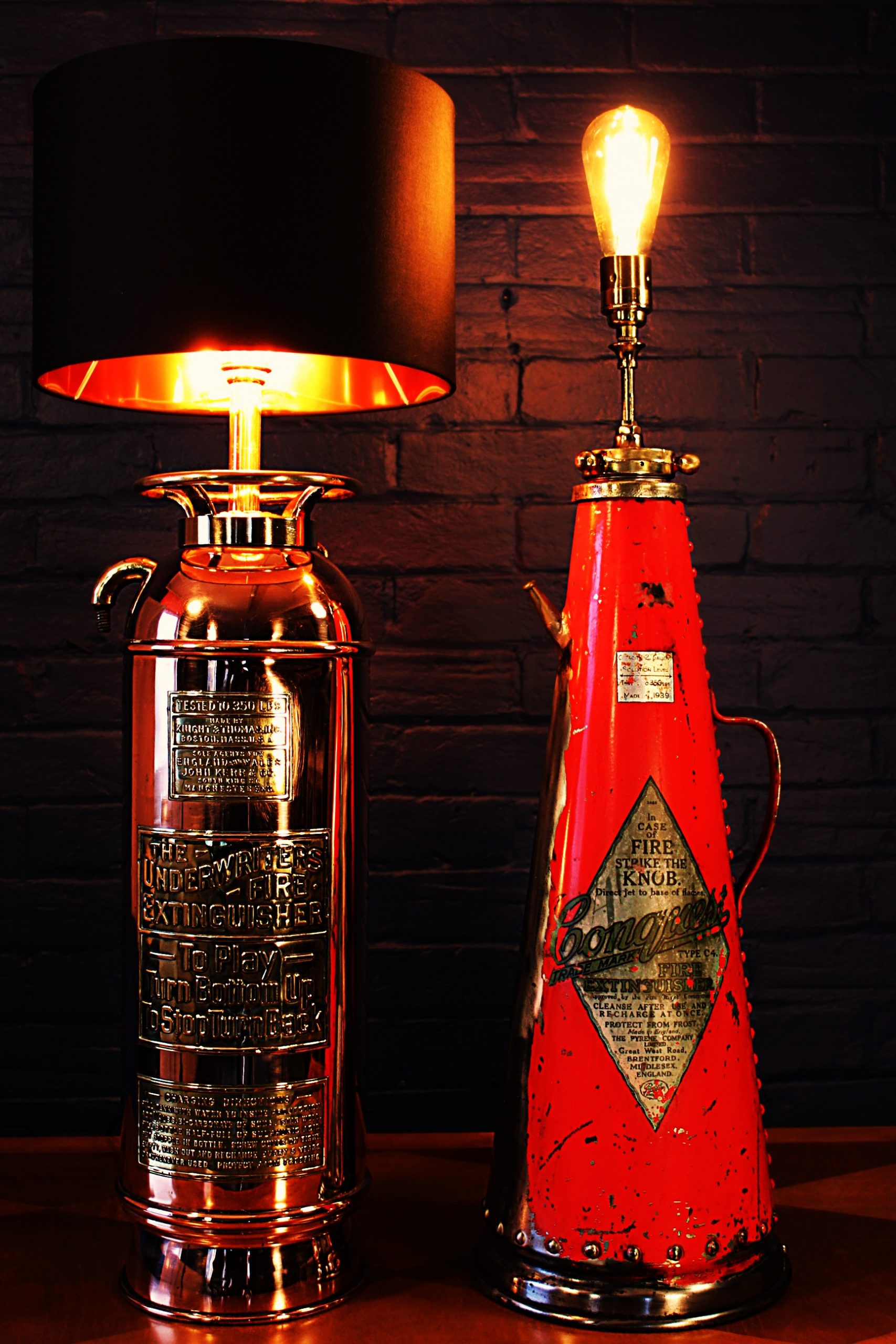 Upcycled recycled bespoke fire extinguisher table lamp light