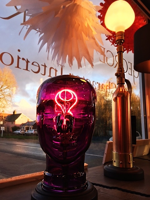 Glass recycled upcycled purple head light lamp