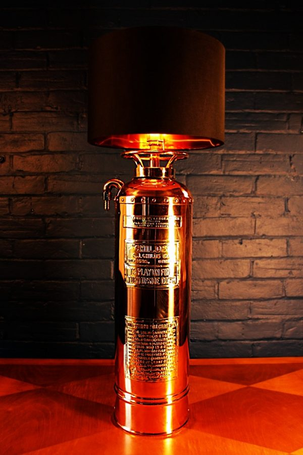 Childs copper & brass fire extinguisher lamp