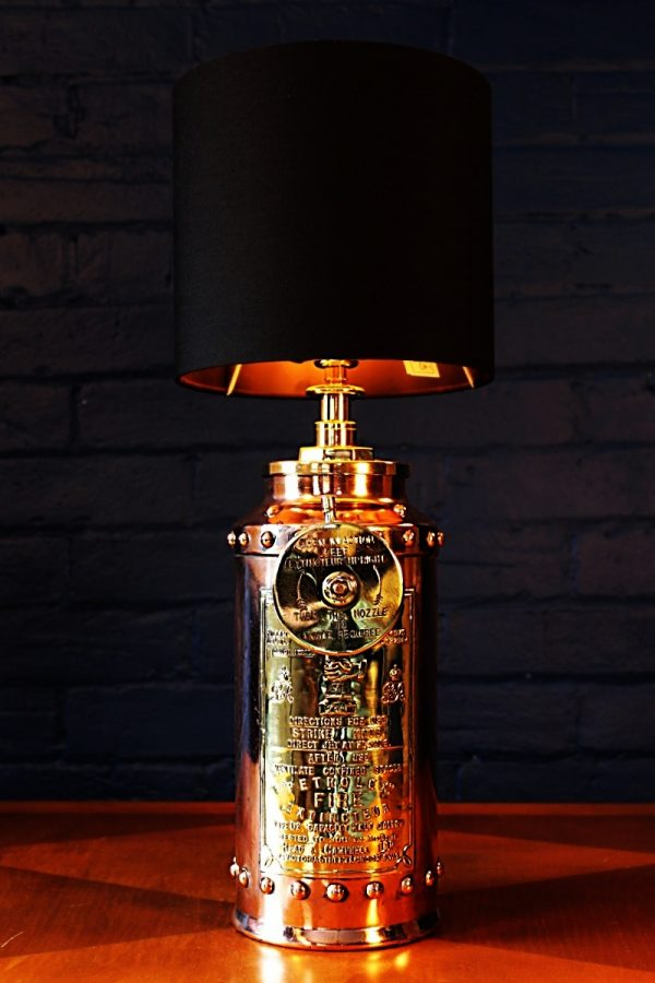 Copper and Brass Petrolex table lamp for sale