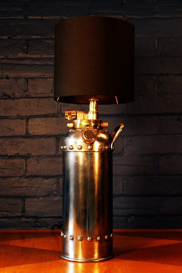 Steel and brass riveted fire extinguisher table lamp for sale